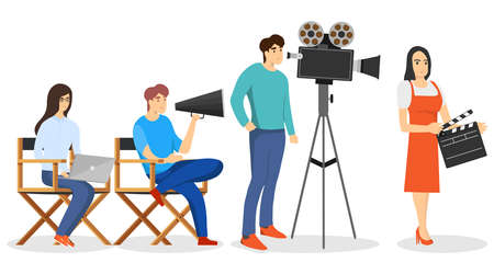 Film production. The director and cameraman make the film. Vector illustration. Vector.