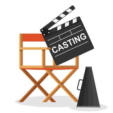 Casting, casting. A sign with the inscription casting lies on the director's chair. Vector illustration. Vector.