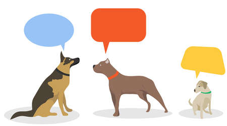 Thoughts of dogs, communication of dogs among themselves. Dogs communicate with each other. Vector illustration. Vector.