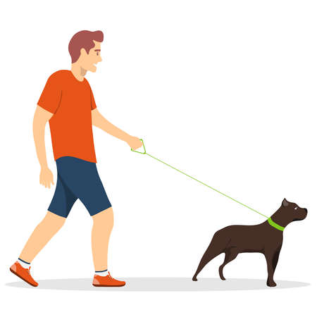 Walk the dogs. A man walking a dog on a leash isolated on a white background. Vector illustration. Vector.