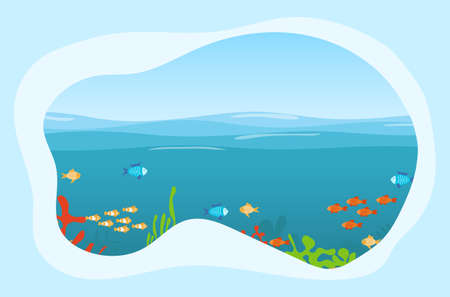 Undersea world. Sea world with fish, algae and water. Vector illustration. Vector. Çizim
