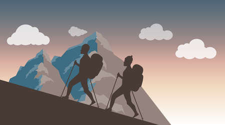 Climbing to the top. Silhouettes of two climbers climbing to the top of the mountain against the backdrop of the sunset. Vector illustration. Vector. Ilustracja