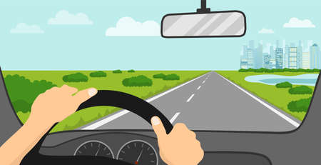 View of the road from the driver's seat. The driver looks at the road through the windshield of the car. Vector illustration. Vector.