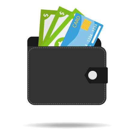 Wallet with money and a credit card. Black men's wallet with money Isolated on a white background with shadow. Male wallet icon. Vector illustration. Vector.