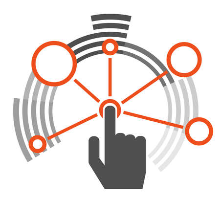 Interaction. The interaction icon in the form of circles. Hand finger presses the interaction button. Vector illustration. Vector.