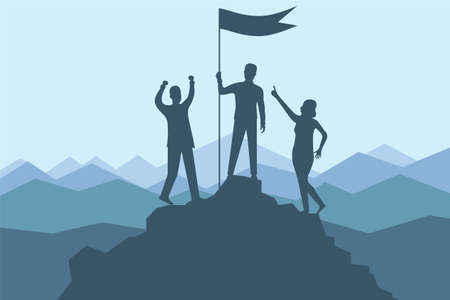 Climbing to the top of the mountain. A group of climbers climbed to the top of the mountain with a flag. Vector illustration banner mountain climbing and active tourism. Vector.