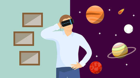The virtual reality. A man in a virtual reality helmet fell into space and looks at the planets. Vector illustration of a virtual reality banner. Vector.