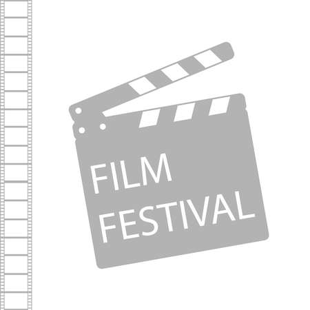 Film festival. Gray film production icon isolated on a white background with film strip. Vector illustration of a movie festival. Vector.