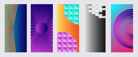 Abstract geometric patterns with elements of lines, spirals and gradients. Set of five vertical abstract banners with shadow for cover design. Vector, abstract illustration. Vector.