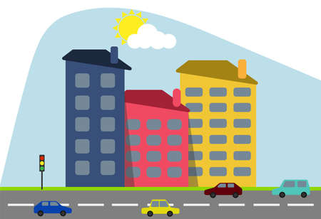 Cartoon colored houses with shadows and trees against the backdrop of the shining sun with a highway and cartoon cars. Decorative toy houses. Vector illustration of cartoon houses. Vector.