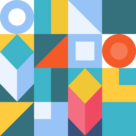 Abstraction of colored geometric shapes. Abstract background image of colored geometric shapes. Vector illustration. Vector.