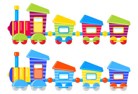 Cartoon color children's train with wagons. Set of two colored children's trains. Vector illustration. Vector. Ilustração