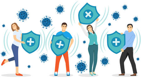COVID-19. A group of people hold shields while protecting themselves from coronavirus infection. Vector illustration. Vector.