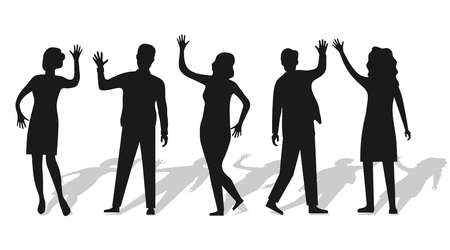 Silhouettes of people waving hand isolated on white with shadow. People wave their hands and greet each other. Vector, cartoon illustration of waving people. Vector.