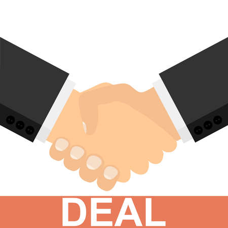 Deal. Successful deal. Two businessmen shake hands. Handshake. Vector illustration Vector Ilustração