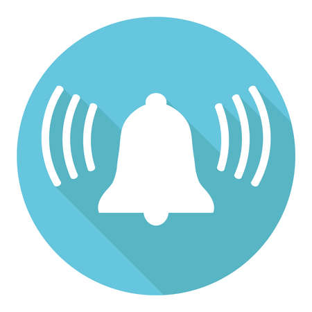 Ring the bell icon. Ring bell on a green background with shadow. Vector illustration. Vector. Ilustração