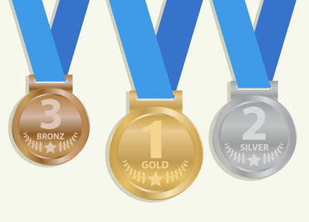 Sports medal. Set of realistic sports medals with blue ribbon isolated on a white background. Vector.