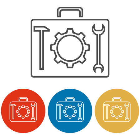 Suitcase for tools. Tool case icon isolated on white background. Vector illustration. Vector.