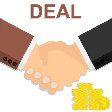 Handshake. Deal. Two businessmen shake hands after closing a deal. Vector illustration. Vector.