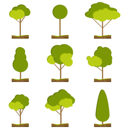 The trees. Set of green trees with a piece of land. Vector illustration. Vector.