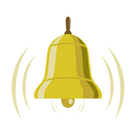 Bell ringing. Golden bell bell isolated on a white background. Vector illustration. Vector.