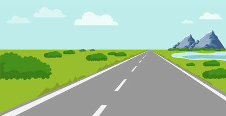 Road with a natural landscape. Highway with grass, mountains and bushes. Vector illustration. Vector. Ilustração