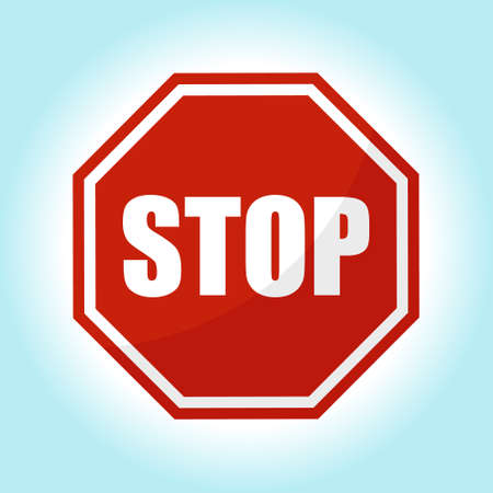Stop sign, stop road sign in red. Vector illustration. Vector.