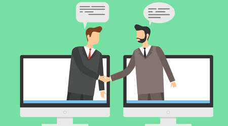 The conclusion of the transaction online. Two businessmen shake hands on a background of computer screensavers. Vector illustration. Vector.