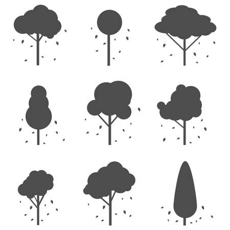 Silhouettes of trees with leaves. Silhouettes of trees with fallen leaves isolated on a white background. Vector illustration. Vector.