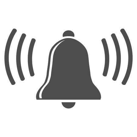 Bell, ring the bell icon in black isolated on white background. Vector illustration. Vector.