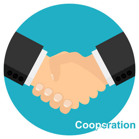 Handshake, making a deal. Businessmen shake hands. Vector illustration. Vector.