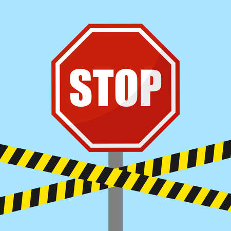 Stop sign. Stop prohibiting sign with police tapes on blue background. Vector illustration. Vector.