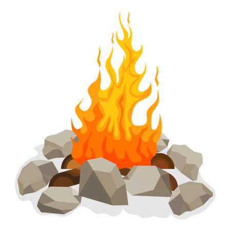 Bonfire, bonfire icon with fire, wood and stones around it. Vector illustration. Vector. Ilustração