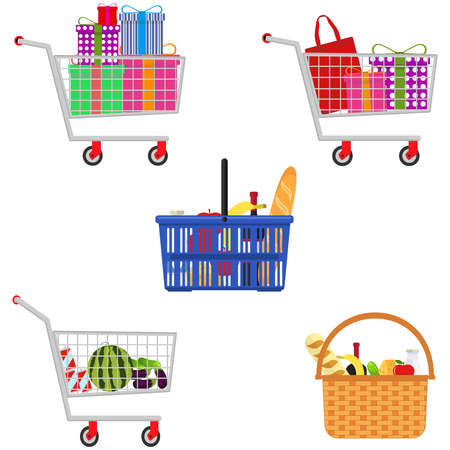 Shopping basket, shopping trolley, shopping bag set. Vector illustration Vector Ilustração