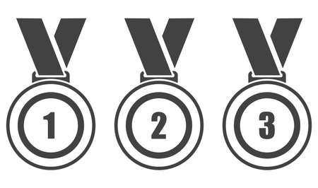 Sports medal icon. Set of black icons of sports medals isolated on white background. Vector illustration. Vector.