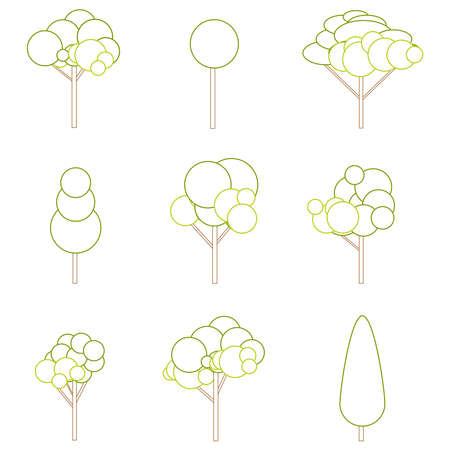 Tree sign, tree silhouettes icons set. Vector illustration. Vector.