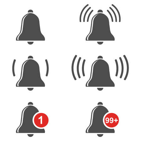 Bell ring. Bell bell icon set isolated on white background. Vector illustration. Vector.
