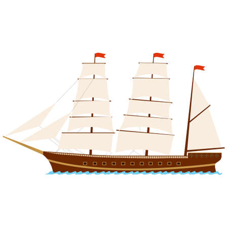 Sailing ship. Ship with sails isolated on a white background. Vector illustration. Vector. Ilustração