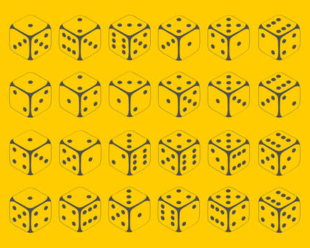 Dice. Set of dice icons on a yellow background in isometric illustration. Vector illustration. Vector. Ilustração
