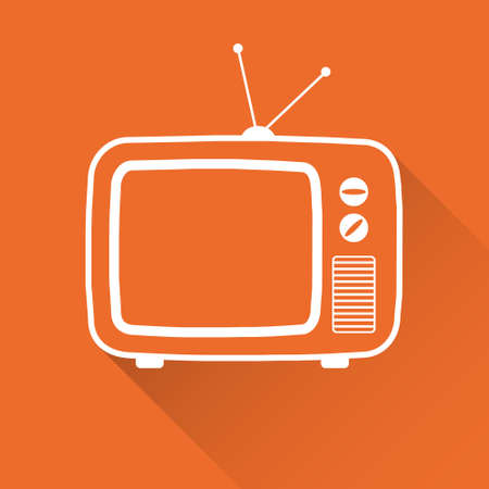 Retro TV, white old TV icon on a red background. Vector illustration. Vector. Ilustração