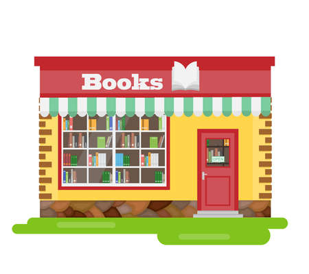 Bookshop, bookstore facade. Vector illustration. Vector.