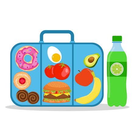 Lunch box with school lunch. School lunch box. Vector illustration. Vector.