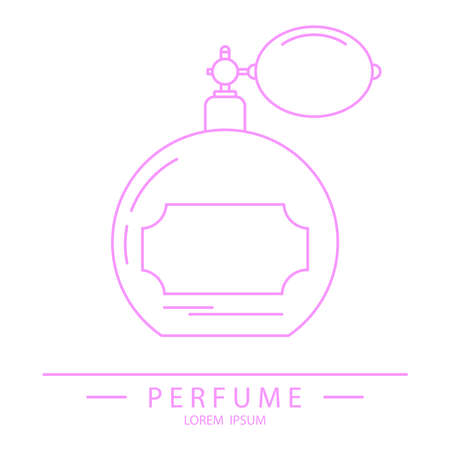 Retro perfume bottle, retro perfume bottle icon in pink. Vector illustration. Vector.