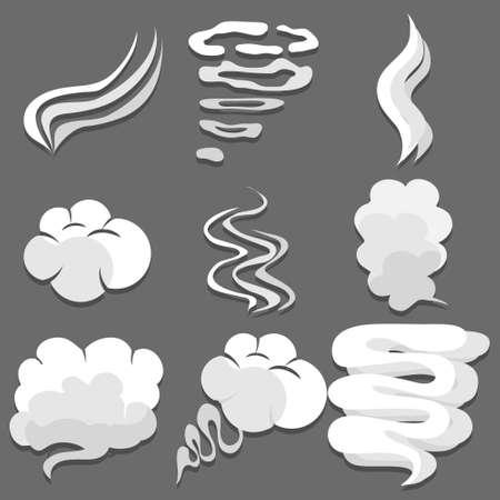 Smoke, miscellaneous white smoke on a gray background. Vector illustration. Vector.