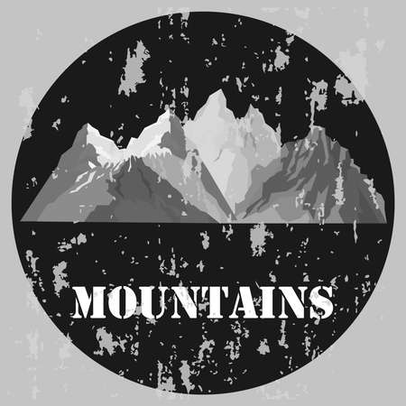 Vintage mountain banner. Banner in gray tones with mountains. Vector illustration. Vector.