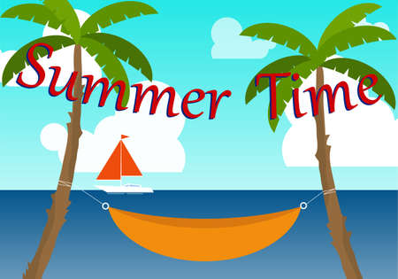 Summer time banner. Background summer image with seascape and palm trees. Vector illustration. Vector.