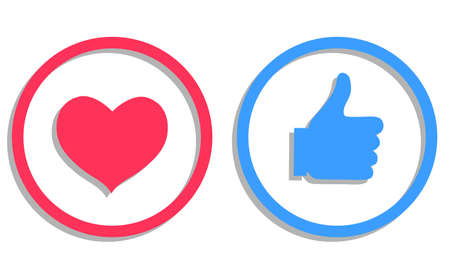 Heart and thumb up icon. Love and like icon. Button for the site. Vector illustration. Vector. Illustration