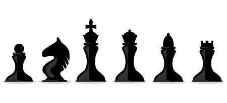 Chess pieces, silhouettes of chess pieces isolated on white background. Vector illustration. Vector.