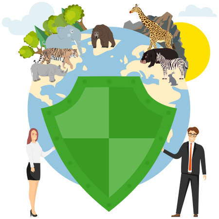 Let's protect the earth. A man and a woman are holding a shield protecting forests, mountains and animals. Vector illustration. Vector.