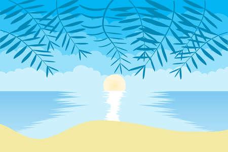 Sunrise on the beach. Sunrise on the background of the ocean, sky and sand. Vector illustration. Vector.